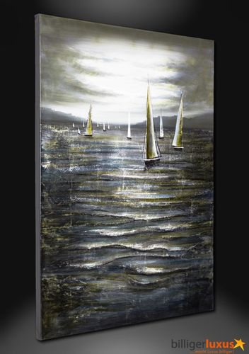 Original oil painting canvas sailboats sea picture 122x91 cm / 48 '' x 35.83 '' mural sailor online kaufen