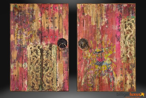 Exclusive artwork oil painting window gate Asia 120x80 cm / 47.24 '' x 31.5 '' red gold Asia gate online kaufen