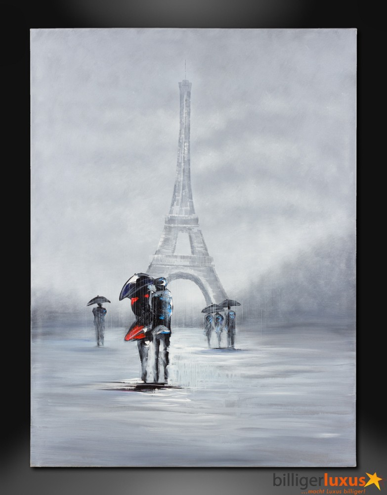 Original oil painting canvas eiffel tower picture 122x91 for Eiffel tower mural black and white