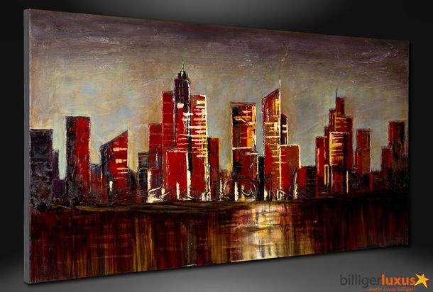 Original oil painting canvas skyline city picture 152x76 cm / 59.84 '' x 29.92 '' mural city online kaufen