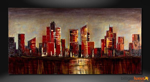 Original Ölgemälde Leinwand Skyline Stadt 152x76 cm online kaufen