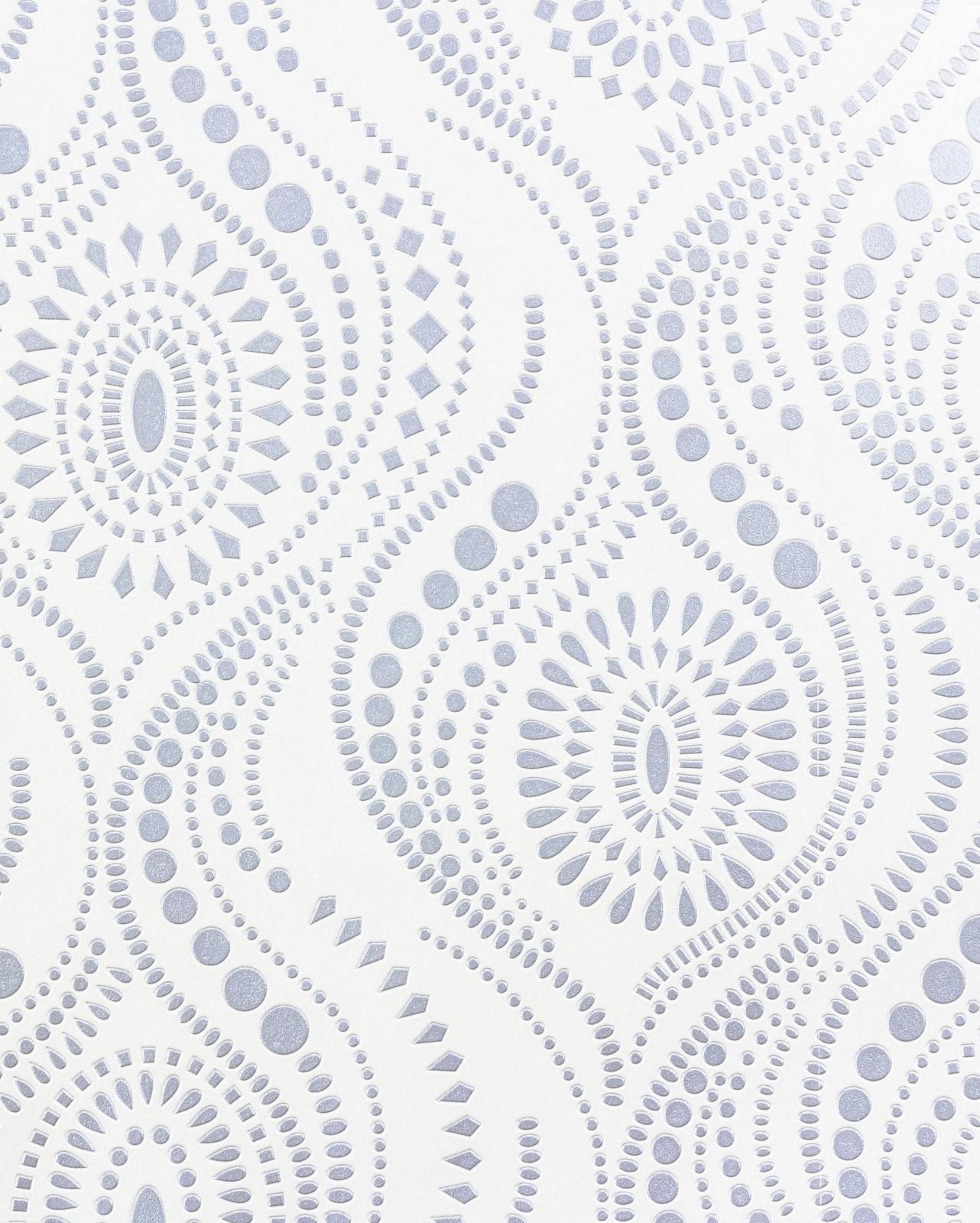 Wallpaper rasch vinyl wallpaper aqua relief pattern white for Tapeten rasch