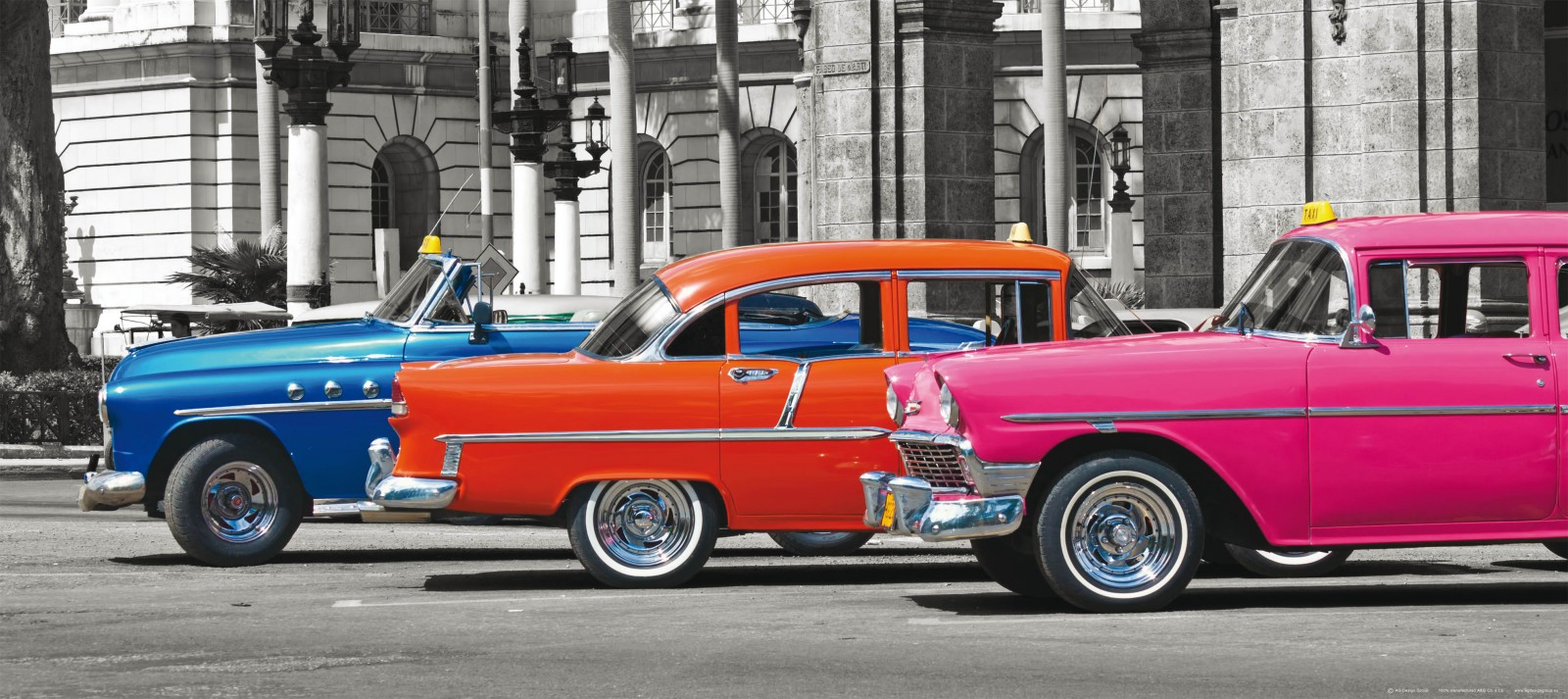 Wall mural wallpaper cars oldtimer blue orange pink photo for Car wallpaper mural