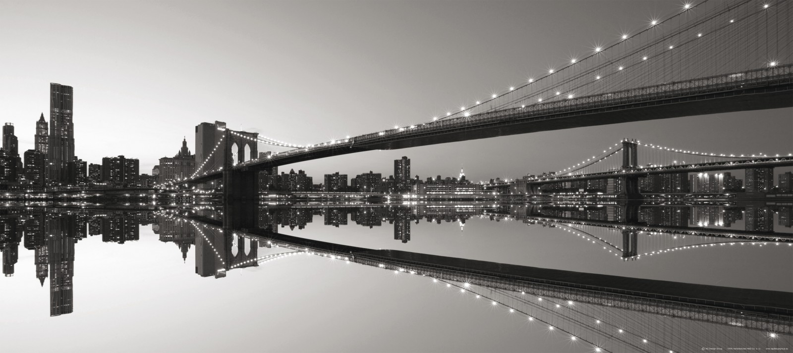 Wall mural wallpaper bridge brooklyn bridge new york nyc for Black and white new york mural wallpaper