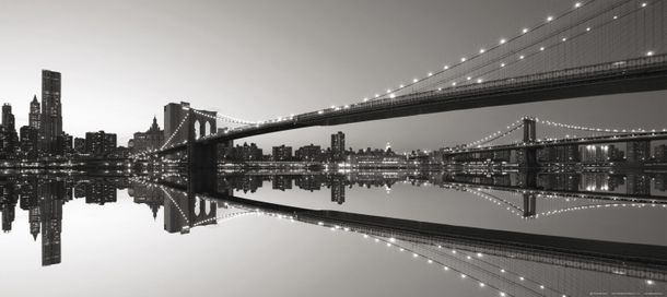 Wall mural wallpaper bridge Brooklyn Bridge New York NYC Brooklyn photo 90 cm x 202 cm / 35.43  x 2.21 yd