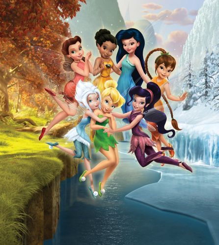 Wall mural wallpaper Disney Tinkerbell and friends fairies fairy photo 180 x 202 cm / 1.97 yd x 2.21 yd