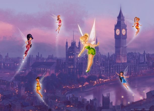 xxl poster wall mural wallpaper disney tinkerbell fairies fairy london photo 160 cm x 115 cm 1. Black Bedroom Furniture Sets. Home Design Ideas