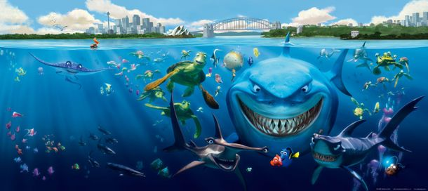 Wall mural wallpaper Finding Nemo 3 sharks Bruce Anchor & Chum photo 202 x 90 cm / 2.21 yd x 35.43 ''
