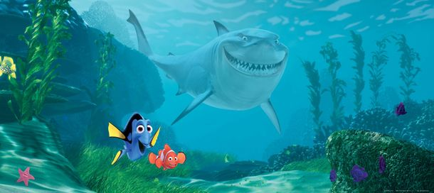 Wall mural wallpaper Finding Nemo Marlin Dorie & Bruce photo 202 x 90 cm / 2.21 yd x 35.43 '' online kaufen