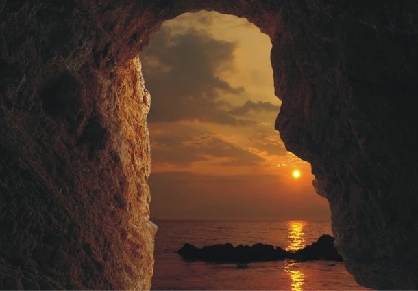 Wall mural wallpaper sunset hole cave sea photo 360 cm x 270 cm / 3.94 yd x 2.95 yd online kaufen