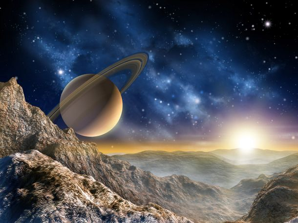 Wall mural wallpaper space planet hill mountain Saturn photo 360 cm x 255 cm / 3.94 yd x 2.79 yd