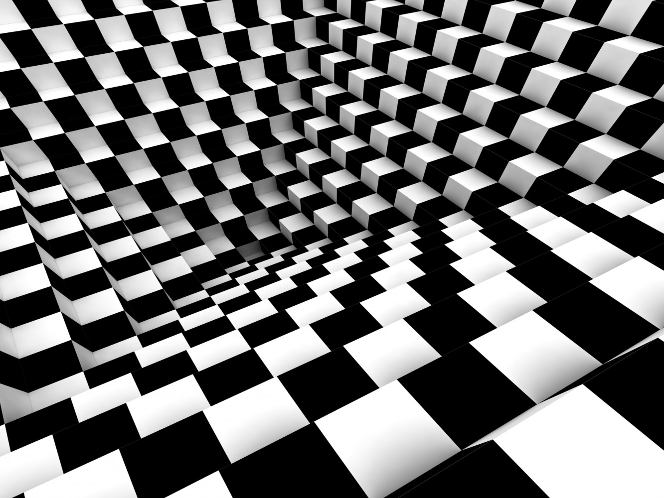 Wall mural wallpaper chess pattern 3d effect photo 360 cm for Black and white wall mural wallpaper