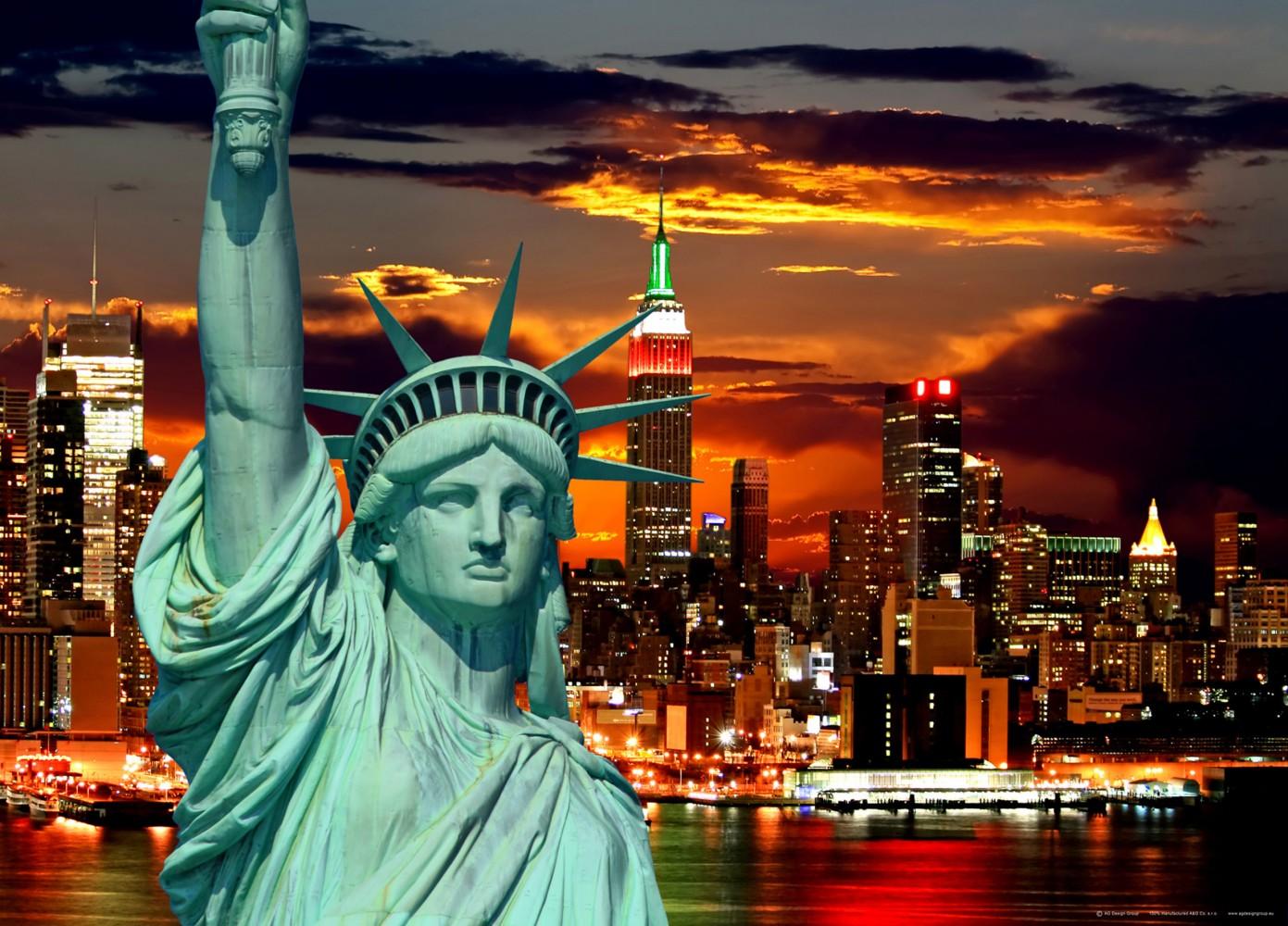 xxl poster fototapete tapete freiheitsstatue new york skyline foto 160 x 115 cm. Black Bedroom Furniture Sets. Home Design Ideas