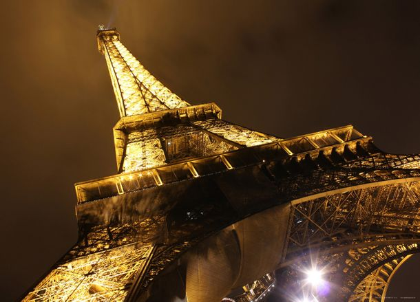 XXL poster wall mural wallpaper Eiffel Tower Sepia at night photo 160 cm x 115 cm / 1.75 yd x 1.26 yd