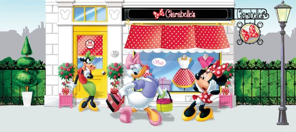 Wall mural wallpaper Disney Minnie Mouse Daisy Duck Clarabelle Cow photo 202 x 90 cm / 2.21 yd x 35.43 ''  online kaufen