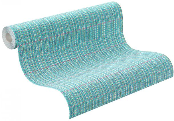 wallpaper Rasch Funky Flair non-woven wallpaper 721508 checked turquois green online kaufen