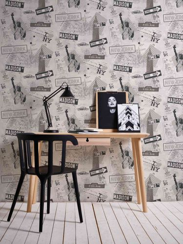 Kids Wallpaper New York Streets grey Metallic 93625-1 online kaufen