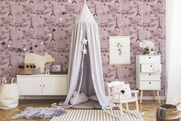 Kindertapete Collage New York London rosa braun 93630-2 online kaufen