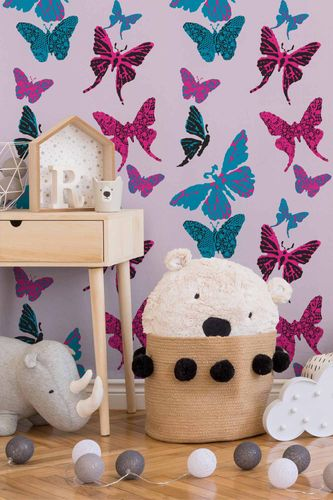 Kids Wallpaper Butterflye rose blue 93634-2 online kaufen