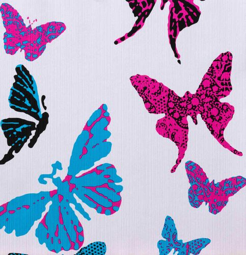 Kids Wallpaper Butterflye rose blue 93634-2
