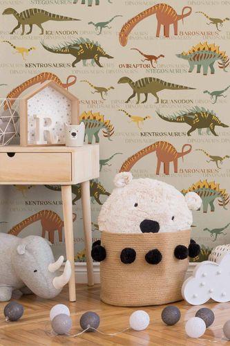 Kids Wallpaper Dinosaurs beige orange 93633-1 online kaufen