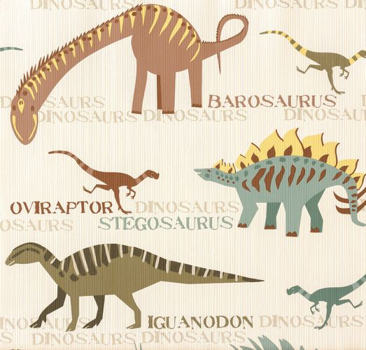 Kids Wallpaper Dinosaurs beige orange 93633-1