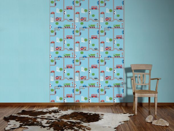 Kids Wallpaper Street Design blue colourful 93632-1 online kaufen