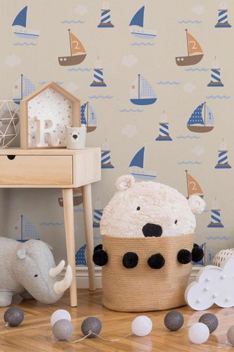 Kids Wallpaper Boats Sea beige blue 93554-8 online kaufen