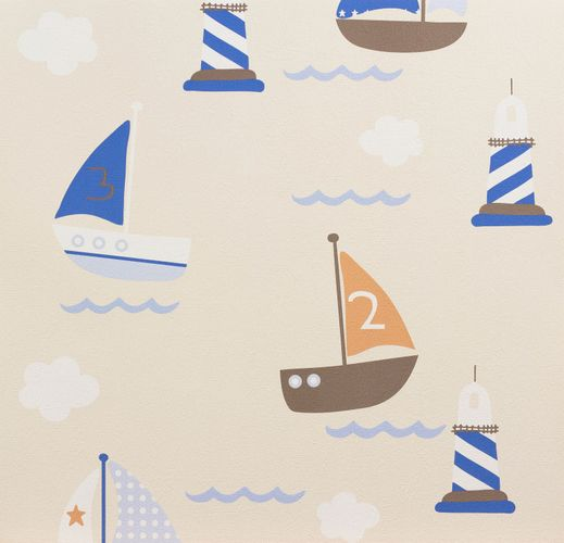 Kids Wallpaper Boats Sea beige blue 93554-8