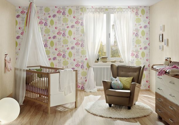 Kids Wallpaper Forest Hedgehog white pink 93555-1 online kaufen