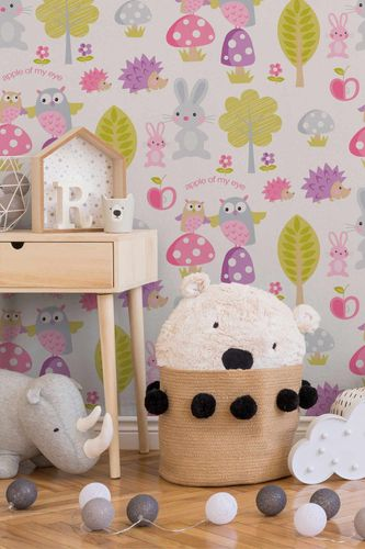 Kids Wallpaper Forest Hedgehog white pink 93555-1
