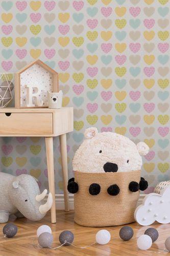 Kindertapete Herzen Muster weiß bunt 93566-2 online kaufen