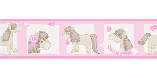 Wallpaper Border Kids Pony rose white self-adhesive 8927-20 online kaufen