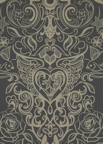 Casa Nova Wallpaper Graham & Brown non-woven wallpaper 20-452 20452 baroque modern black beige