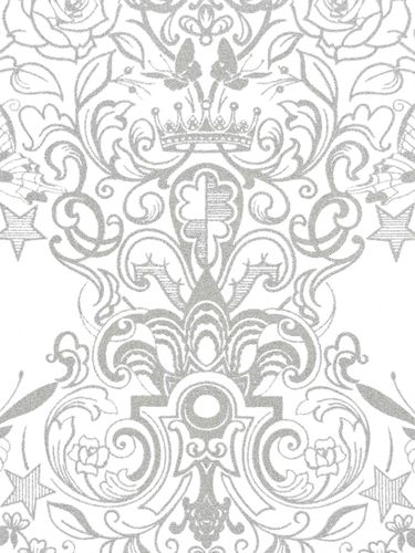 Casa Nova Wallpaper Graham & Brown non-woven wallpaper 20-451 20451 baroque modern white silver