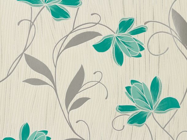Wallpaper Chicago A.S Création wallpaper 3062-10 306210 flowers white turquoise online kaufen
