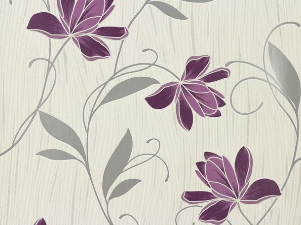 Wallpaper Chicago A.S Création wallpaper 3062-34 306234 flowers white purple online kaufen