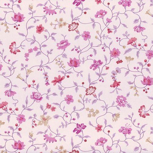 Rasch Textil VINTAGE DIARY wallpaper 255194 flowers vine white purple