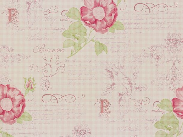 Rasch Textil VINTAGE DIARY wallpaper 255101 flowers rose green