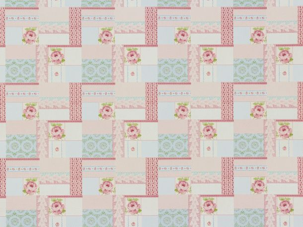 Tapete Rasch Textil Patchwork rosa Vintage Diary 255170
