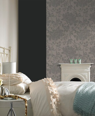 Graham & Brown Superfresco non-woven wallpaper Element 31-855 31855 flowers grey brown online kaufen