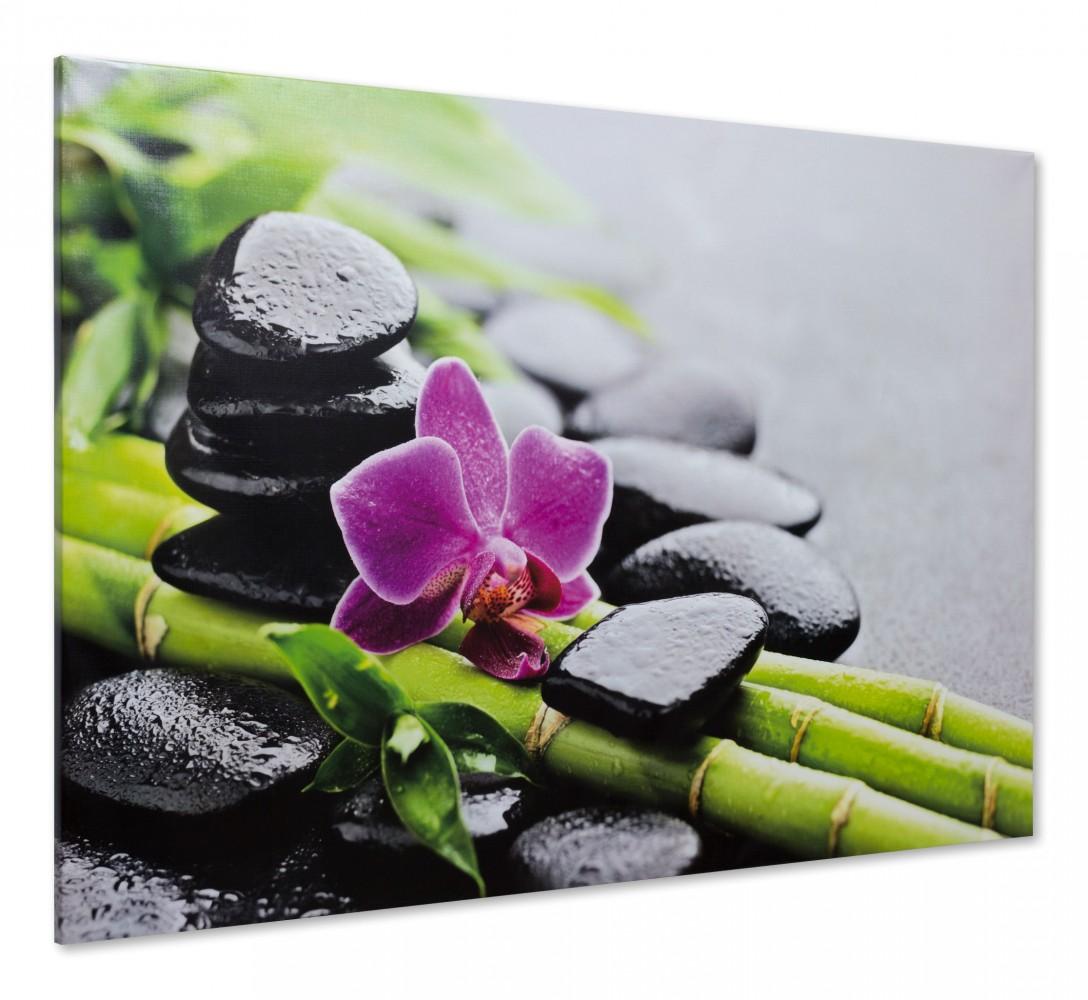 Canvas Print Picture Spa Stones Stones Orchids Feng Shui 60x90cm 18 11 X24 02