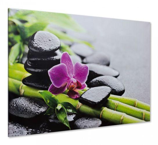 """Canvas print Picture spa stones stones orchids feng shui 60x90cm / 18.11""""x24.02"""" online kaufen"""