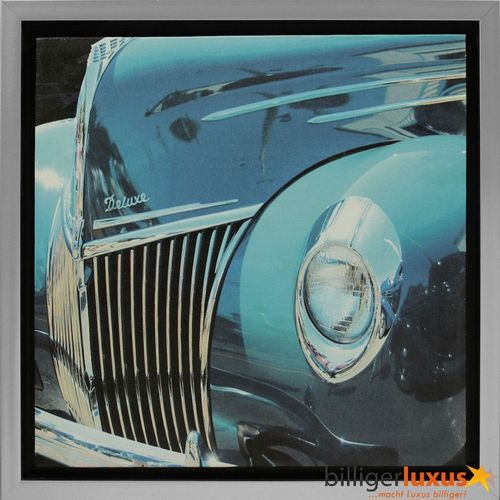 Picture Canvas print aluminum-look frame 35x35 cm Oldtimer Car blue