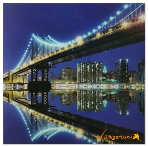 Wandbild Glasbild 3D Optik Bild 45x45 cm Deko Glas Bild New York Skyline Manhattan Bridge online kaufen