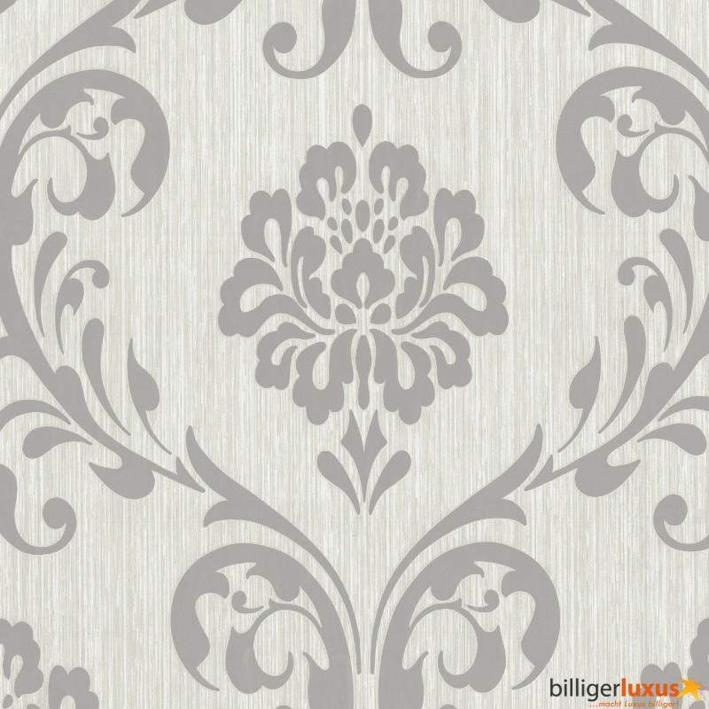 Ornament Vliesapete Ps   Barock Grau Silber