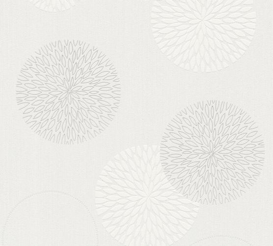 Wallpaper white grey flower Spot AS Creation 93792-2