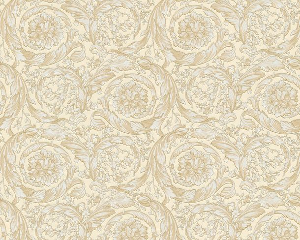 Wallpaper Versace Home ornaments baroque gold cream 93583-1