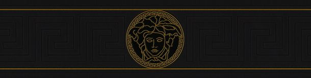 Wallpaper border Versace Home Medusa black metallic 93522-4