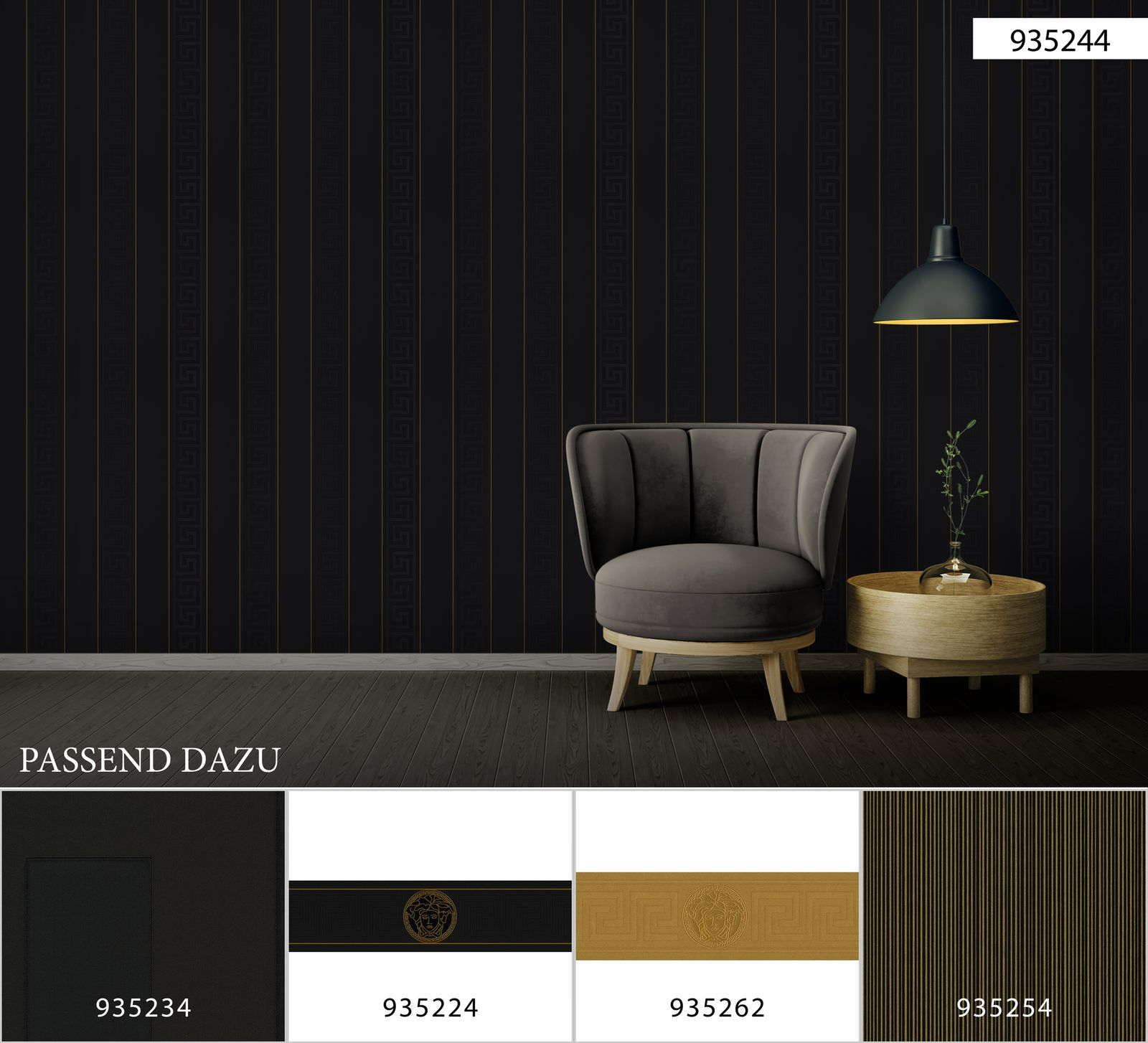 93524 4 Gold Black Versace Greek Stripe Wallpaper